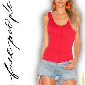 Flipside Lace Trim Cami Bright Red Camisole Tank